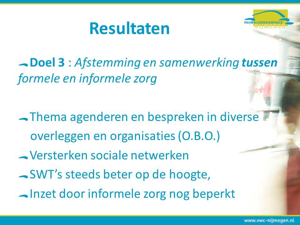 Resultaten Doel 3 : Afstemming en samenwerking tussen formele en informele zorg. Thema agenderen en bespreken in diverse.
