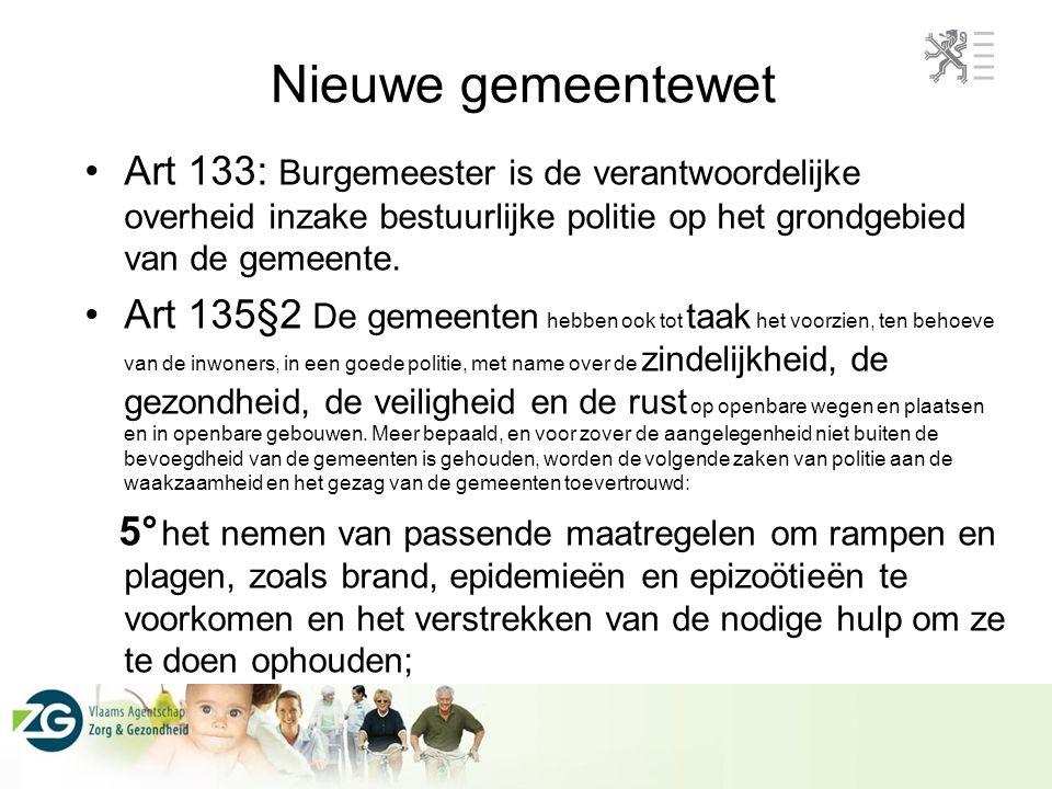 Nieuwe gemeentewet Art 133: Burgemeester is de verantwoordelijke overheid inzake bestuurlijke politie op het grondgebied van de gemeente.