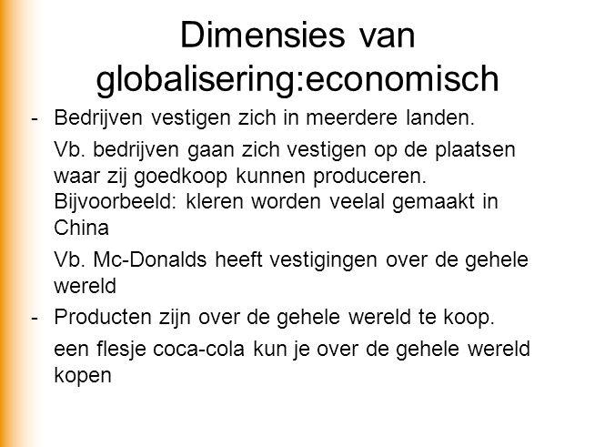 Dimensies van globalisering:economisch