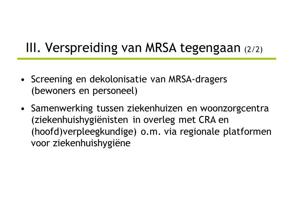 III. Verspreiding van MRSA tegengaan (2/2)