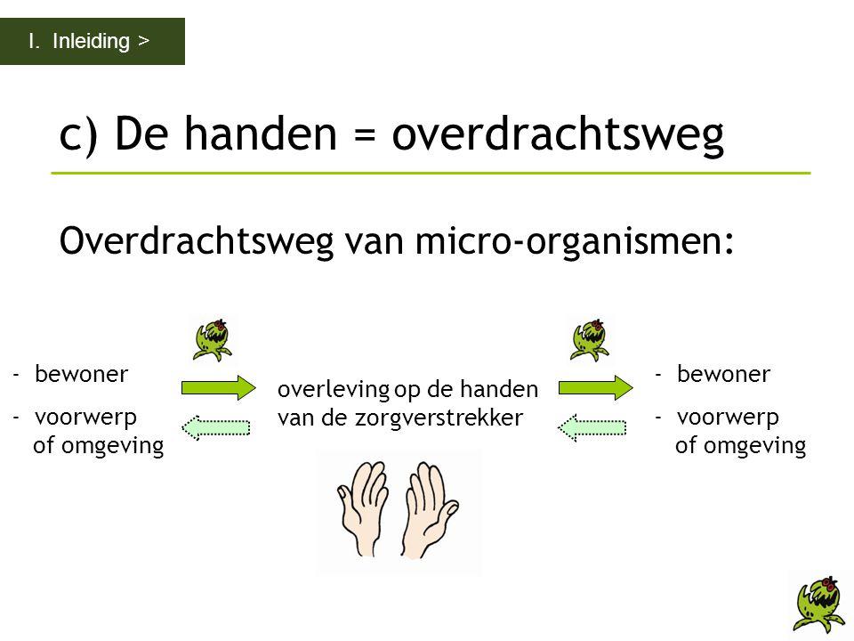 c) De handen = overdrachtsweg