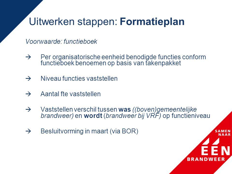 Uitwerken stappen: Formatieplan