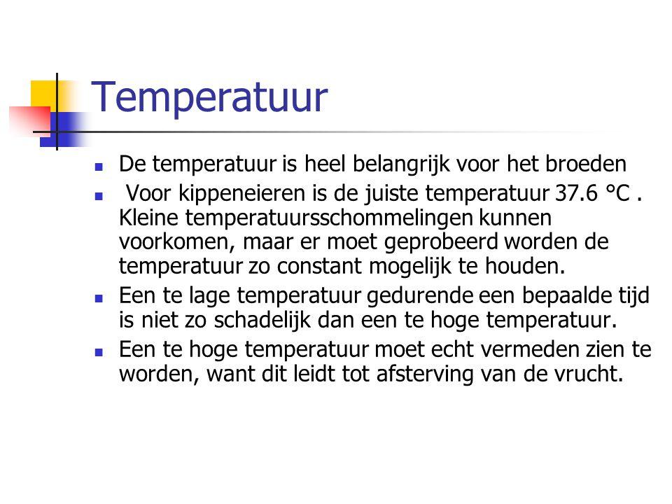 Temperatuur De temperatuur is heel belangrijk voor het broeden