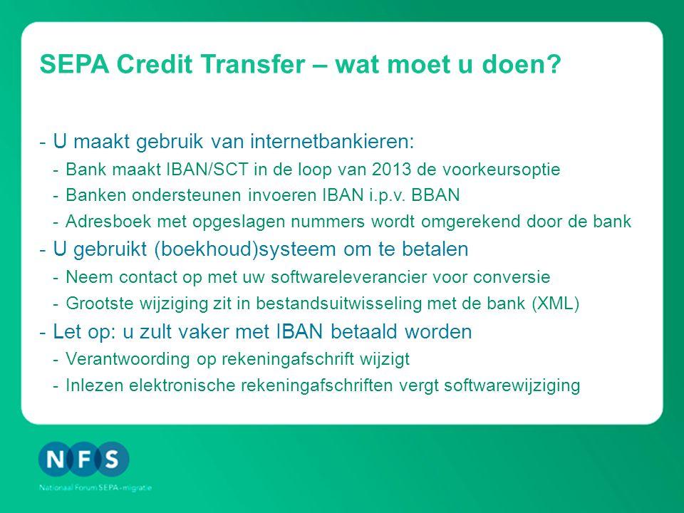 SEPA Credit Transfer – wat moet u doen