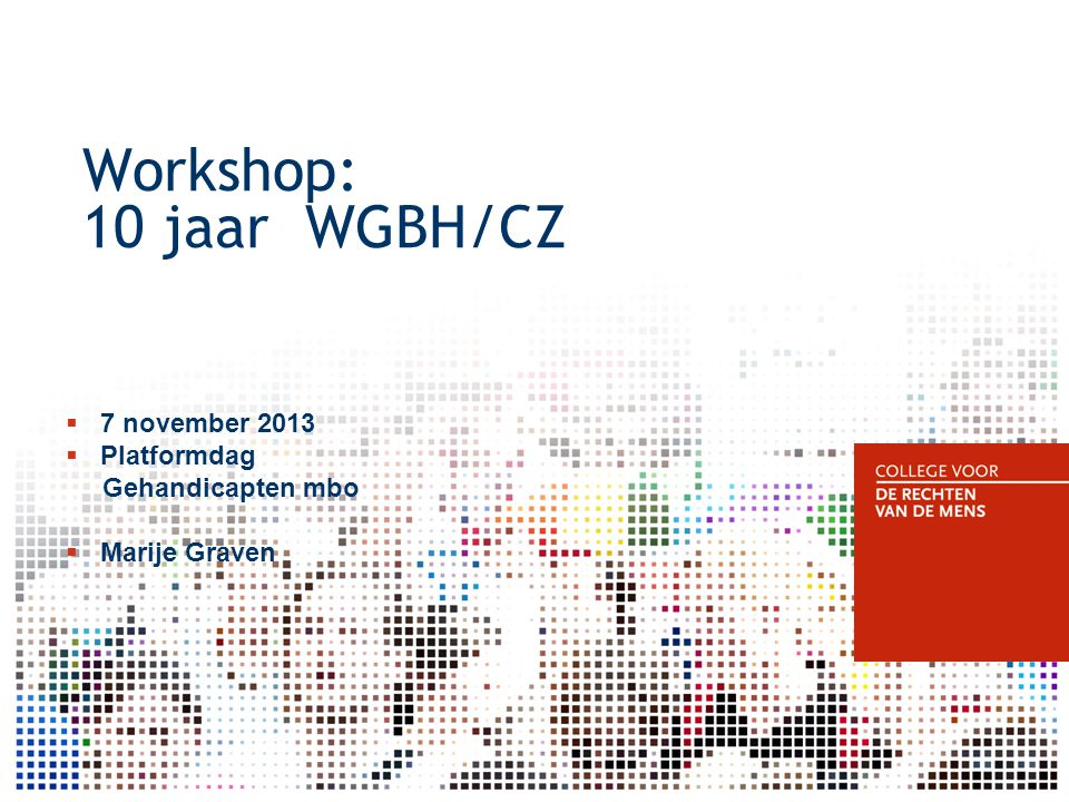 Workshop: 10 jaar WGBH/CZ