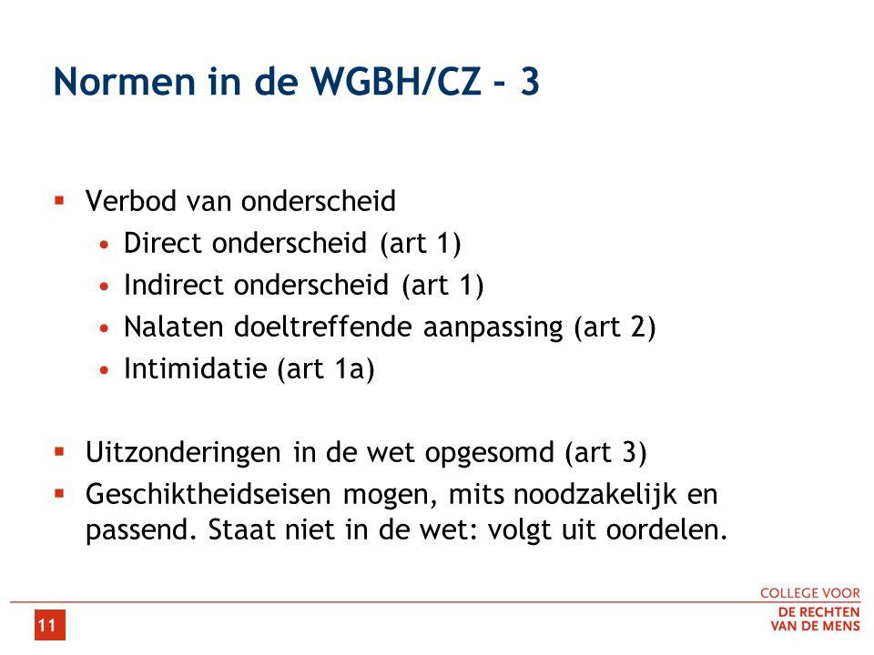 Normen in de WGBH/CZ - 3 Verbod van onderscheid