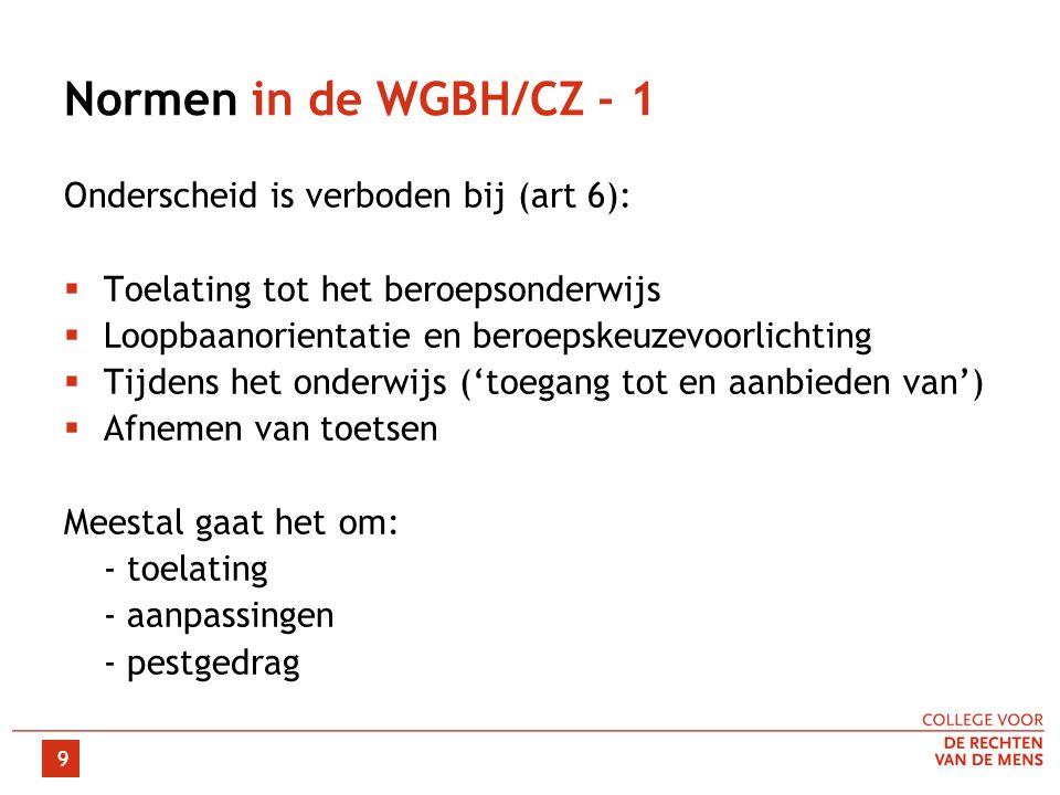 Normen in de WGBH/CZ - 1 Onderscheid is verboden bij (art 6):