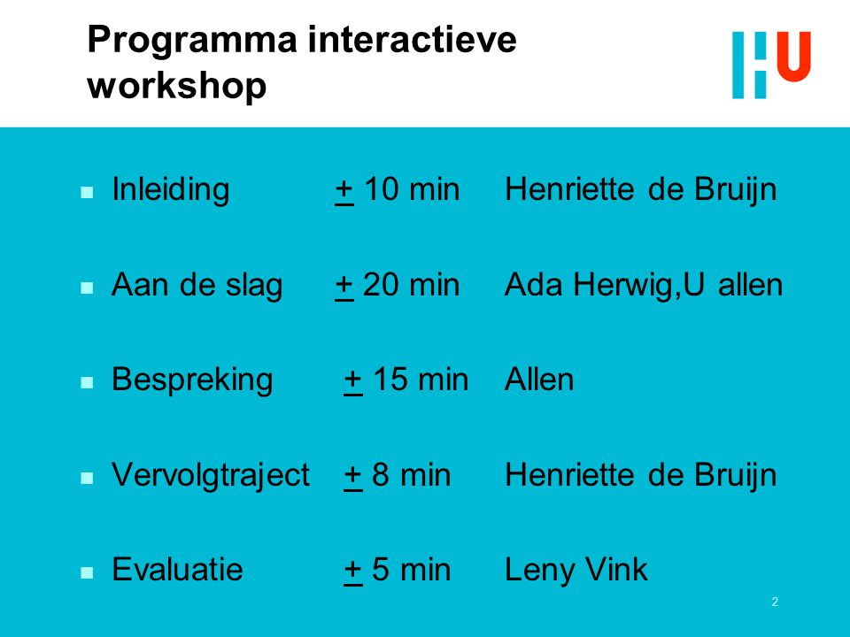 Programma interactieve workshop