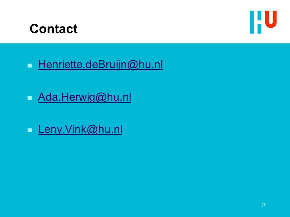 Contact Henriette.deBruijn@hu.nl Ada.Herwig@hu.nl Leny.Vink@hu.nl