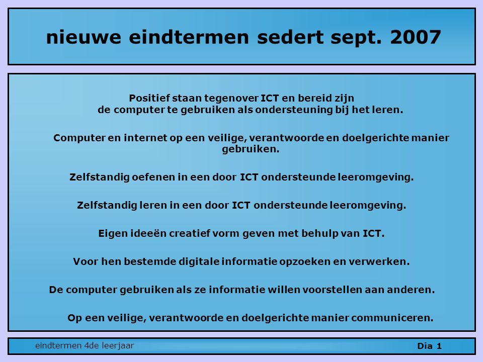 nieuwe eindtermen sedert sept. 2007