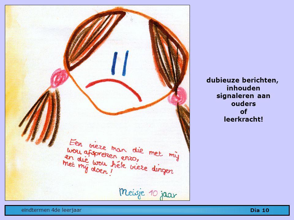 dubieuze berichten, inhouden signaleren aan ouders of leerkracht!