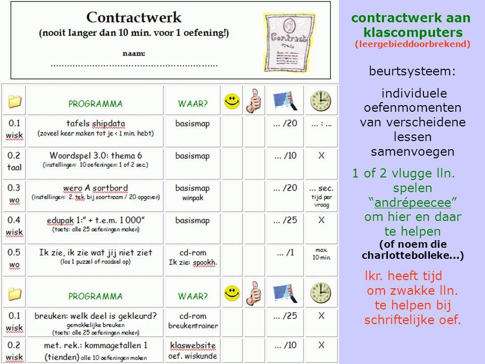contractwerk contractwerk aan klascomputers (leergebieddoorbrekend) beurtsysteem: individuele oefenmomenten van verscheidene lessen samenvoegen.