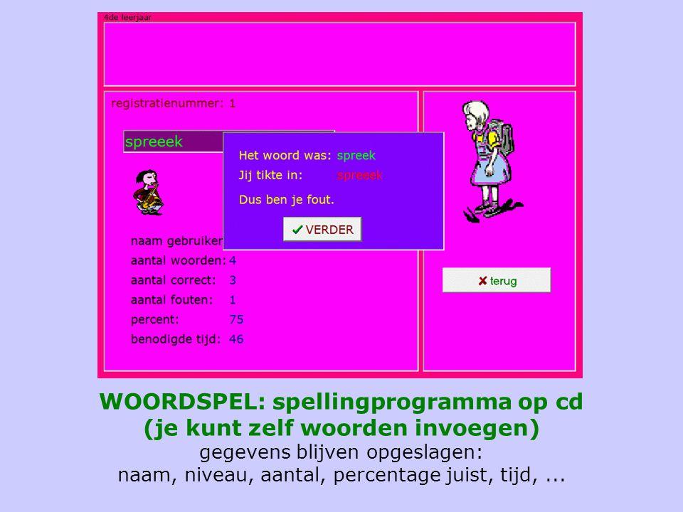 WOORDSPEL: spellingprogramma op cd (je kunt zelf woorden invoegen) gegevens blijven opgeslagen: naam, niveau, aantal, percentage juist, tijd, ...