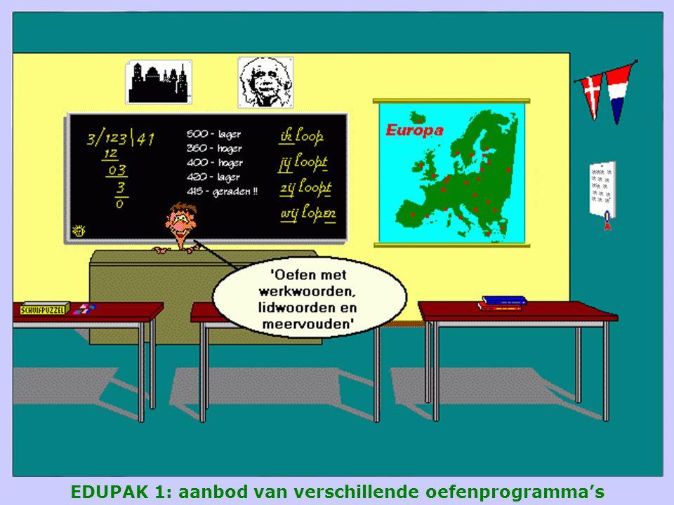 EDUPAK 1: aanbod van verschillende oefenprogramma's