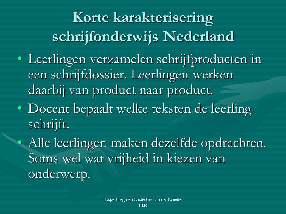 Korte karakterisering schrijfonderwijs Nederland