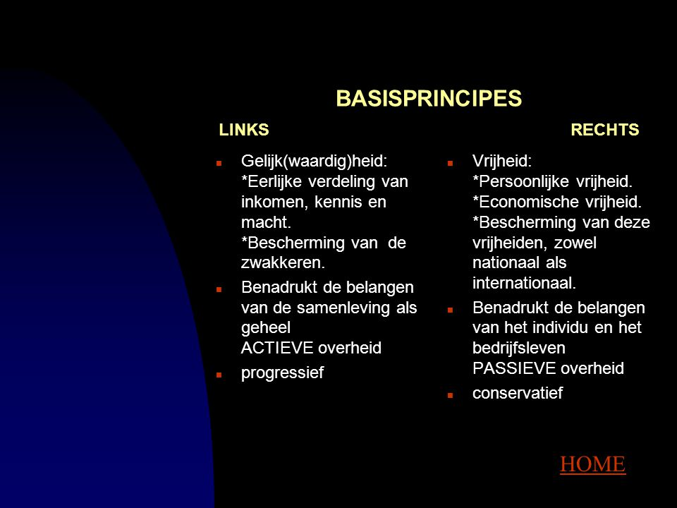 BASISPRINCIPES LINKS RECHTS