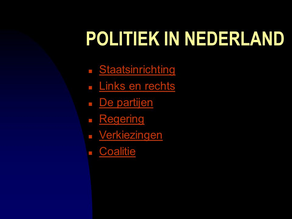 POLITIEK IN NEDERLAND Staatsinrichting Links en rechts De partijen