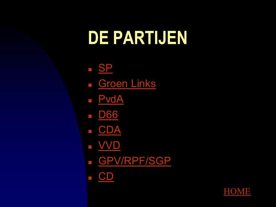 DE PARTIJEN SP Groen Links PvdA D66 CDA VVD GPV/RPF/SGP CD HOME