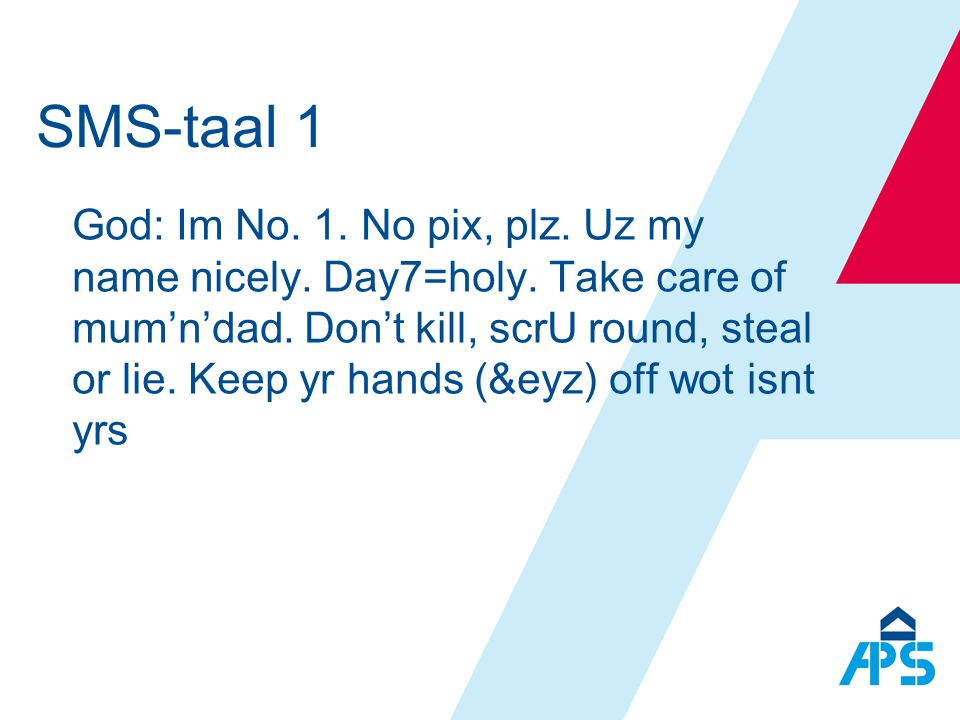SMS-taal 1
