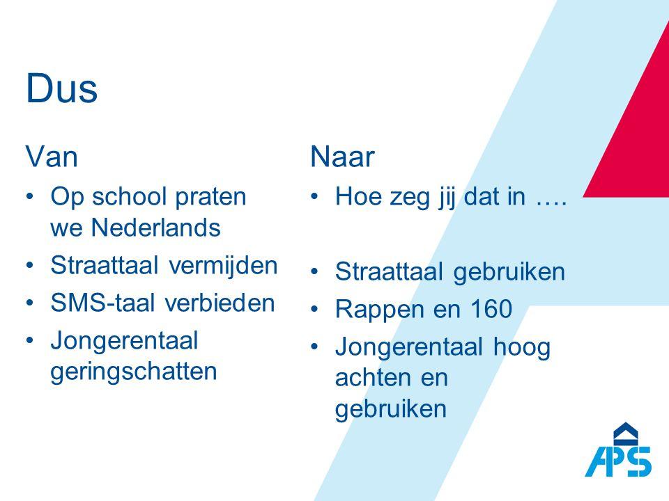 Dus Van Naar Op school praten we Nederlands Straattaal vermijden