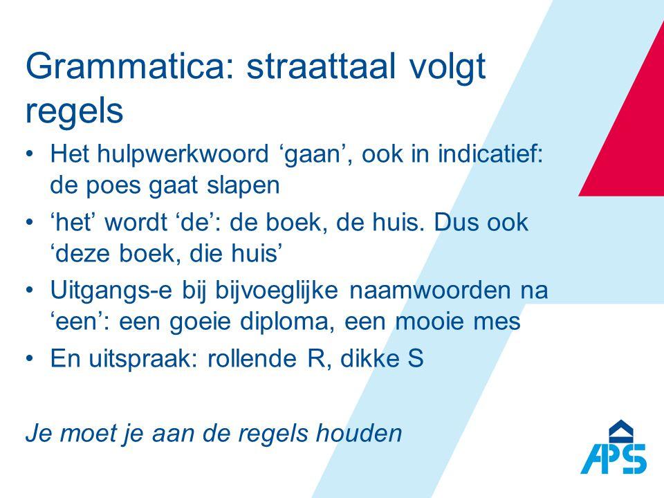 Grammatica: straattaal volgt regels