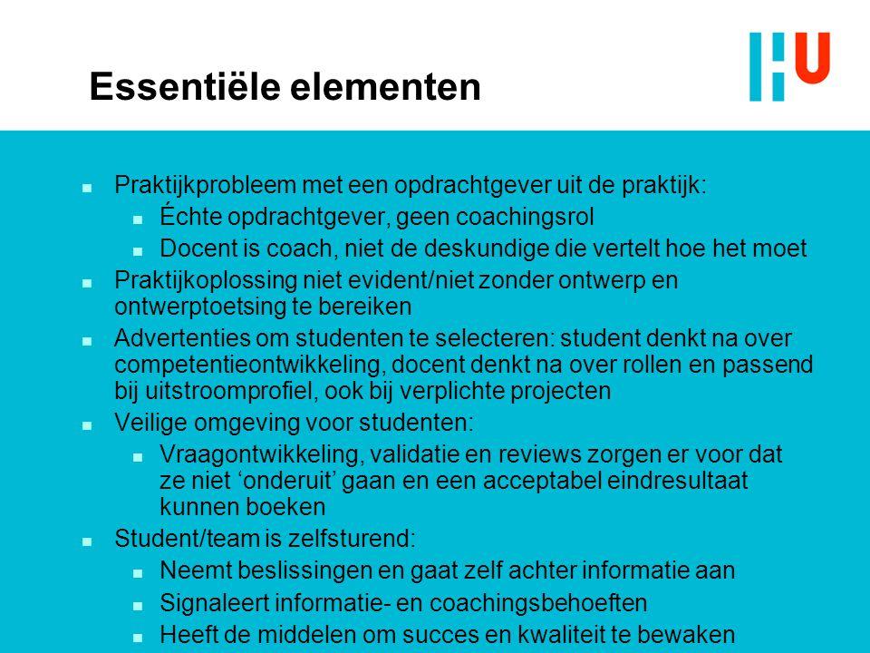 Essentiële elementen Praktijkprobleem met een opdrachtgever uit de praktijk: Échte opdrachtgever, geen coachingsrol.