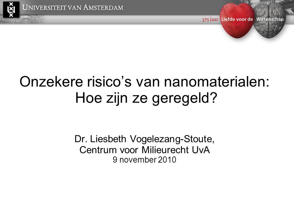 Onzekere risico's van nanomaterialen: Hoe zijn ze geregeld. Dr