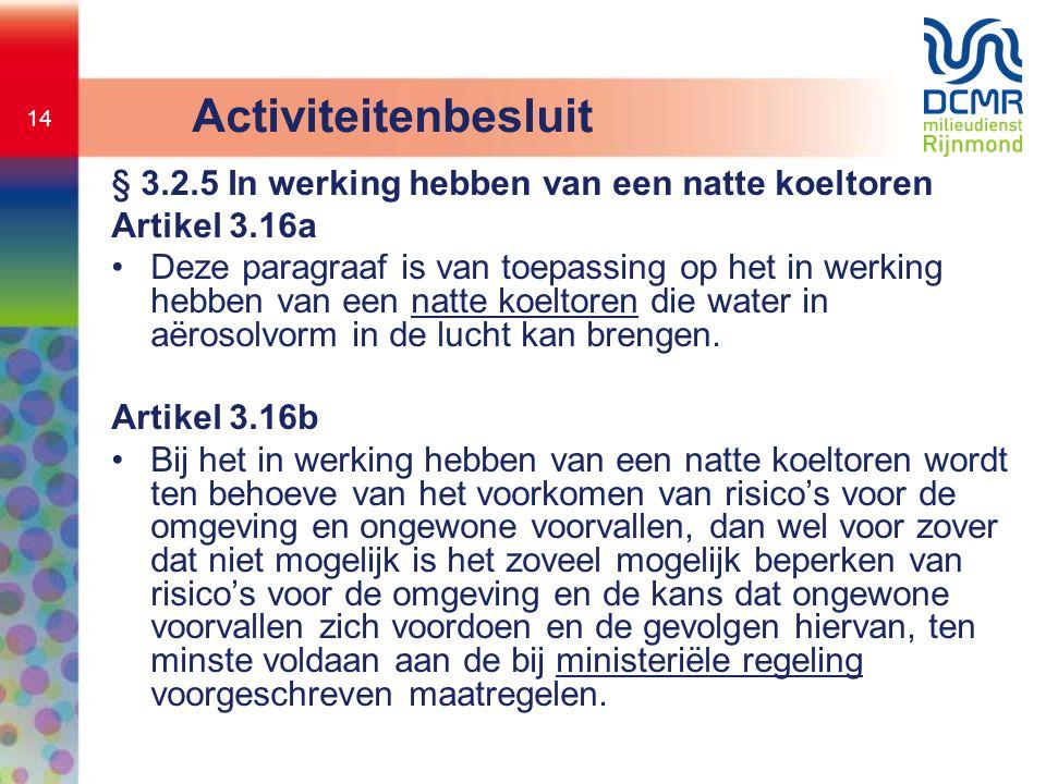 Activiteitenbesluit § 3.2.5 In werking hebben van een natte koeltoren