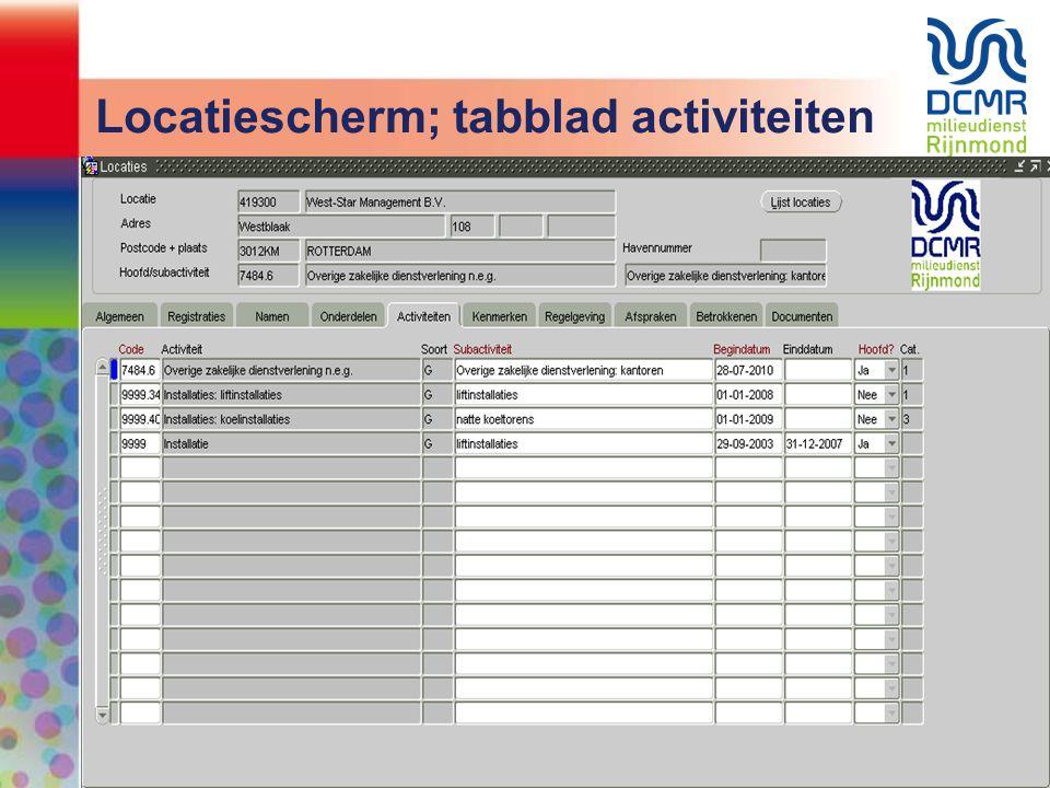 Locatiescherm; tabblad activiteiten