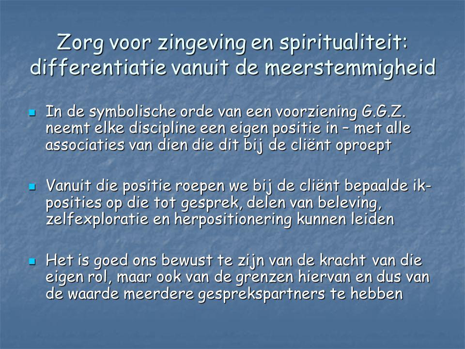 Zorg voor zingeving en spiritualiteit: differentiatie vanuit de meerstemmigheid