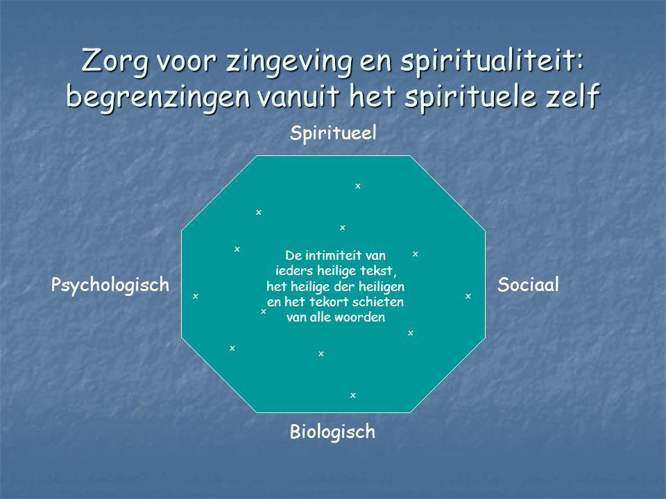 Zorg voor zingeving en spiritualiteit: begrenzingen vanuit het spirituele zelf