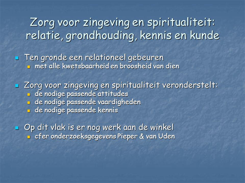 Zorg voor zingeving en spiritualiteit: relatie, grondhouding, kennis en kunde