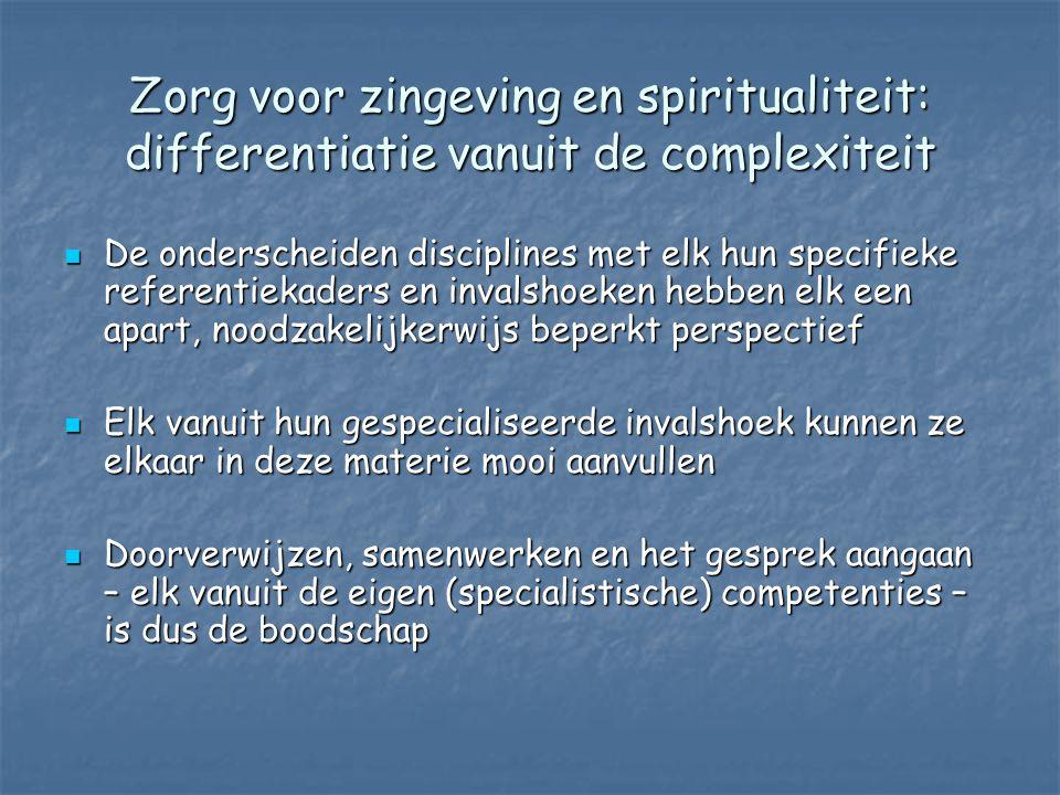 Zorg voor zingeving en spiritualiteit: differentiatie vanuit de complexiteit