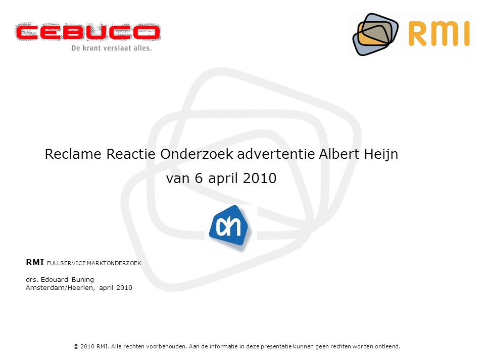 Reclame Reactie Onderzoek advertentie Albert Heijn