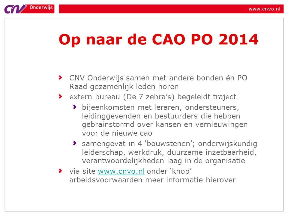 Op naar de CAO PO 2014 CNV Onderwijs samen met andere bonden én PO-Raad gezamenlijk leden horen. extern bureau (De 7 zebra's) begeleidt traject.