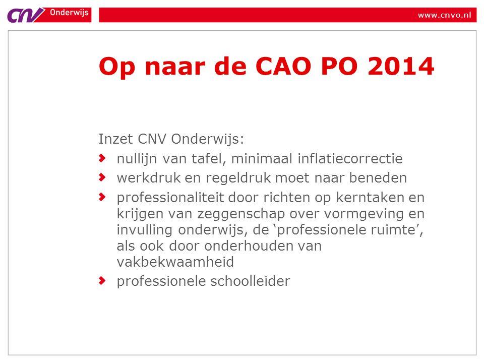 Op naar de CAO PO 2014 Inzet CNV Onderwijs: