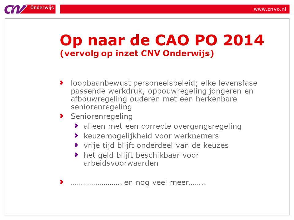 Op naar de CAO PO 2014 (vervolg op inzet CNV Onderwijs)