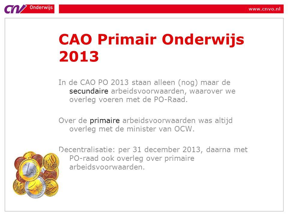 CAO Primair Onderwijs 2013 In de CAO PO 2013 staan alleen (nog) maar de secundaire arbeidsvoorwaarden, waarover we overleg voeren met de PO-Raad.