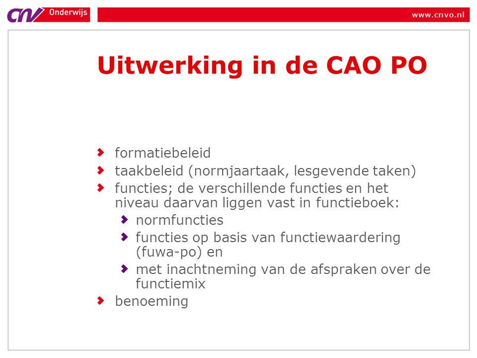 Uitwerking in de CAO PO formatiebeleid