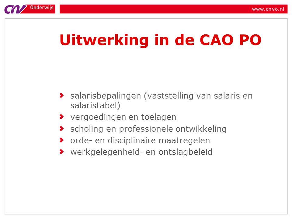 Uitwerking in de CAO PO salarisbepalingen (vaststelling van salaris en salaristabel) vergoedingen en toelagen.
