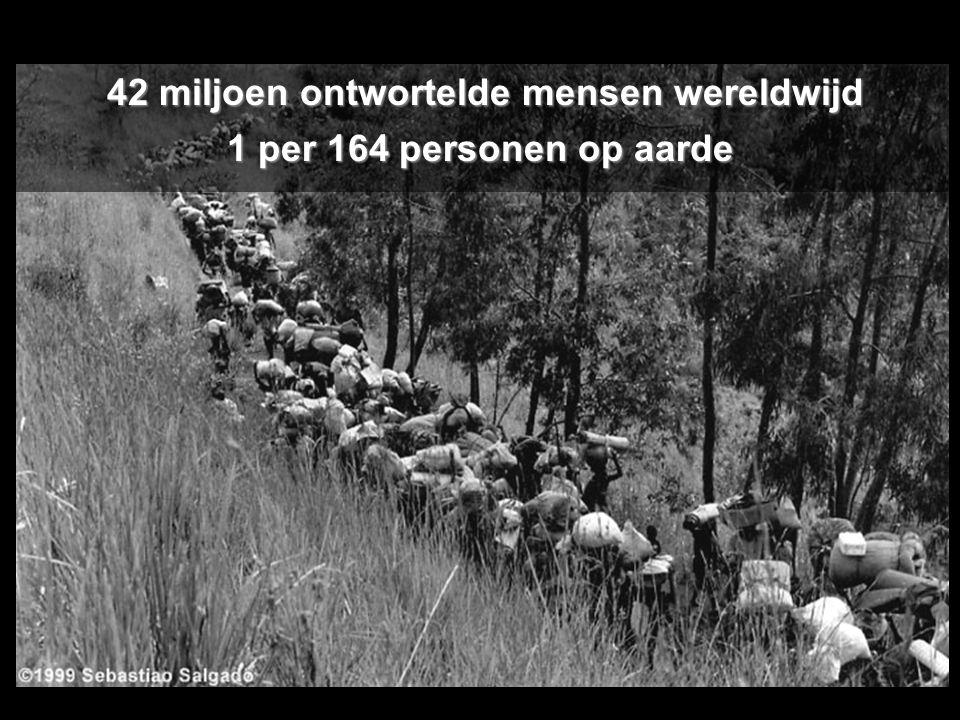 42 miljoen ontwortelde mensen wereldwijd