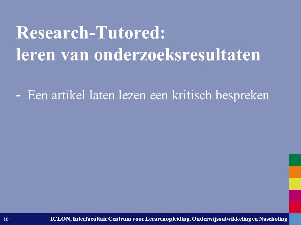Research-Tutored: leren van onderzoeksresultaten
