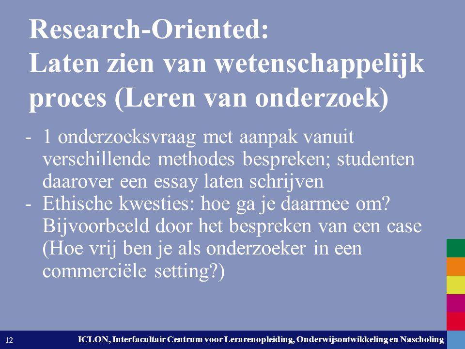 Research-Oriented: Laten zien van wetenschappelijk proces (Leren van onderzoek)