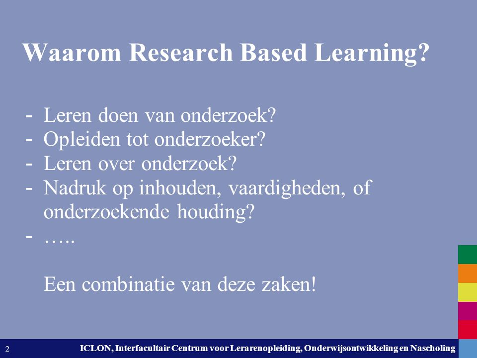 Waarom Research Based Learning