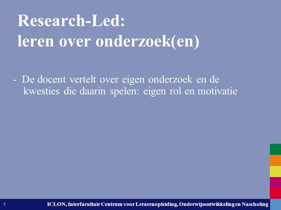 Research-Led: leren over onderzoek(en)