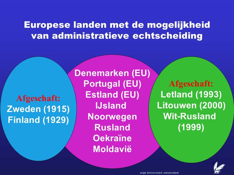 Europese landen met de mogelijkheid van administratieve echtscheiding