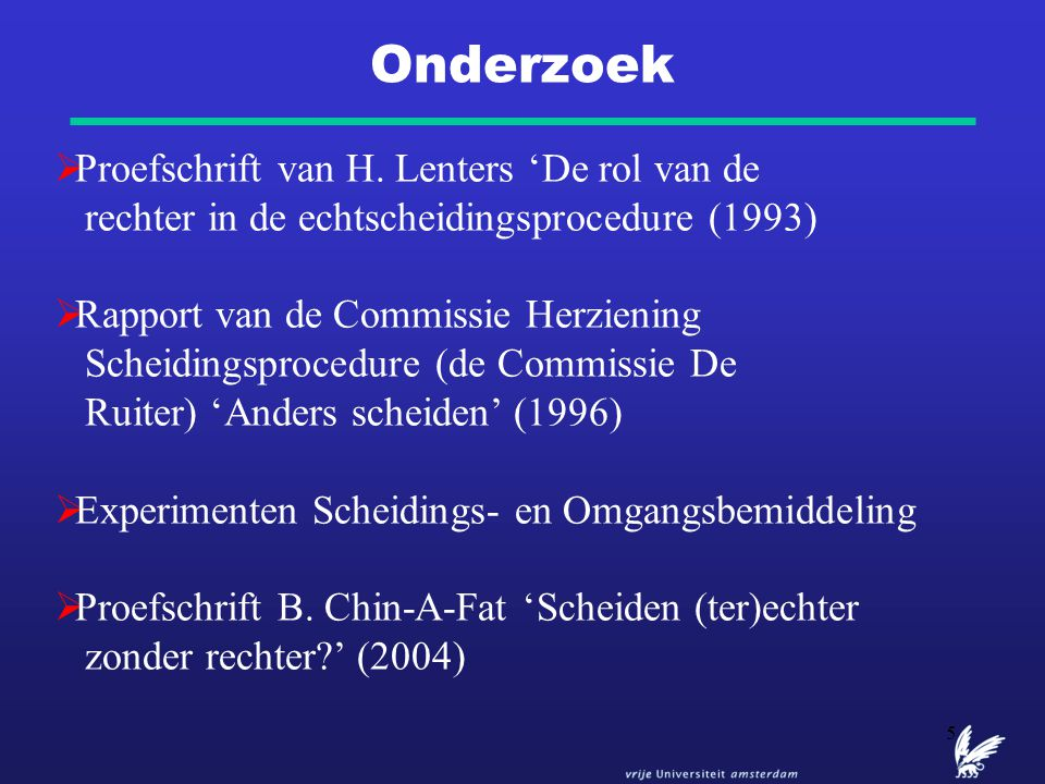 Onderzoek Proefschrift van H. Lenters 'De rol van de rechter in de echtscheidingsprocedure (1993)