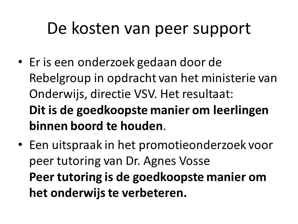 De kosten van peer support