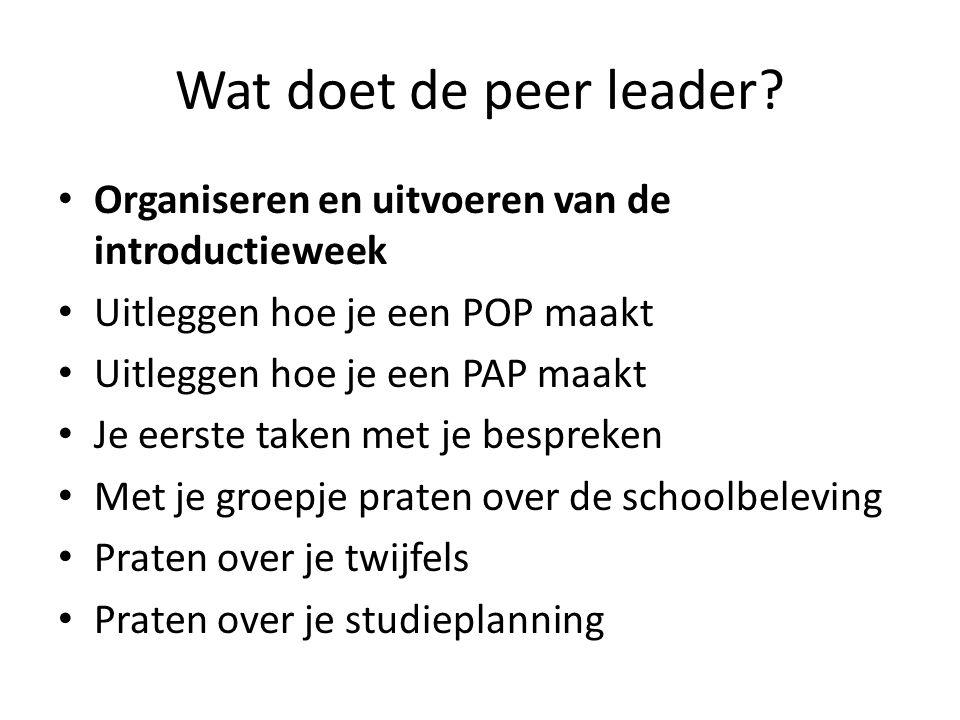 Wat doet de peer leader Organiseren en uitvoeren van de introductieweek. Uitleggen hoe je een POP maakt.