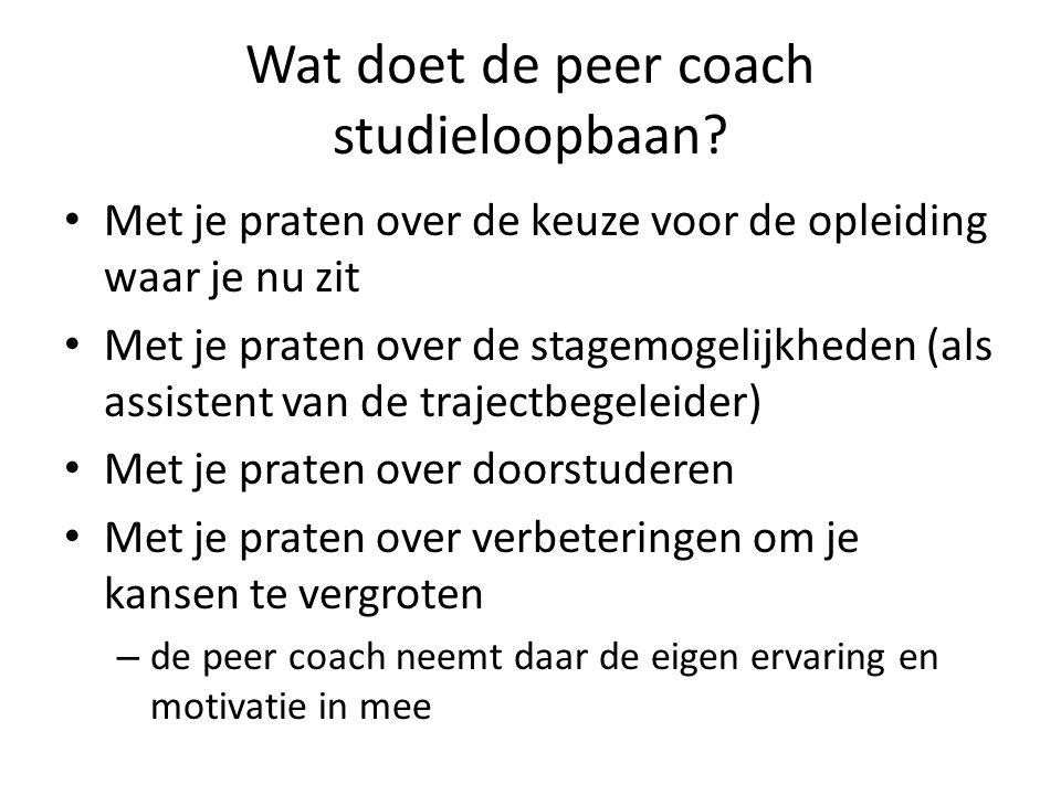 Wat doet de peer coach studieloopbaan